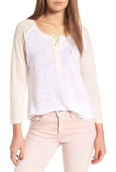 Rails mikey henley tee in white/ blush color block - This supersoft linen-blend tee channels the laid-back...