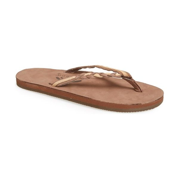 Rainbow 'flirty' braided leather flip flop in expresso/ sierra brown - An easy flip-flop designed with soft, braided leather...