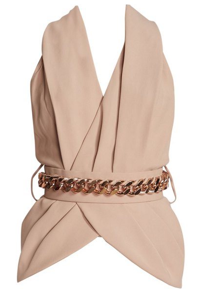 Ralph and Russo belted silk crepe blouse in skin