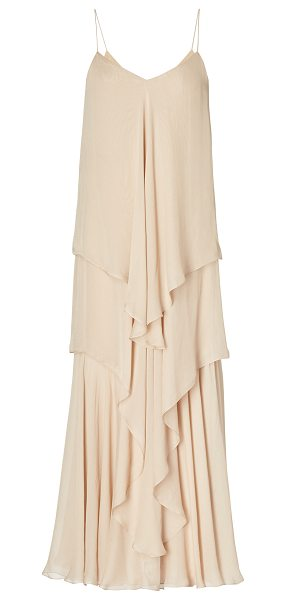 RALPH LAUREN Bernadine Tiered Silk Gown in neutral - This *Ralph Lauren* dress features a v-neckline and a...