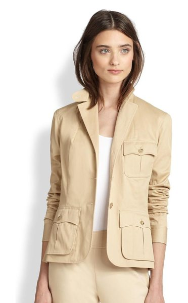 Ralph Lauren Black Label Black label alicia stretch cotton jacket in sand - An impeccably tailored jacket in wearable stretch cotton...