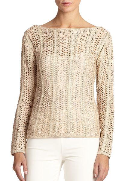 Ralph Lauren Black Label Ribbon-crochet sweater in honey - An exquisitely hand-crafted ribbon-crochet stitch...