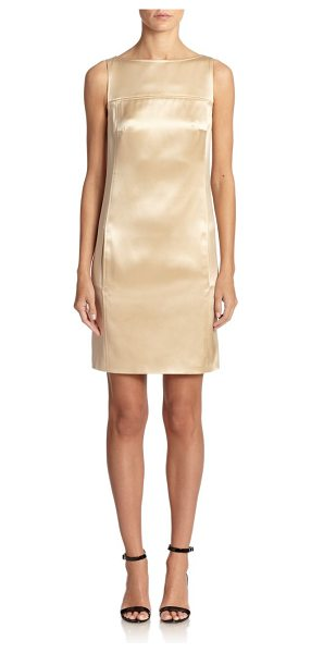 Ralph Lauren Black Label Black label satin shift dress in honey - A luminous satin finish highlights this minimalist...