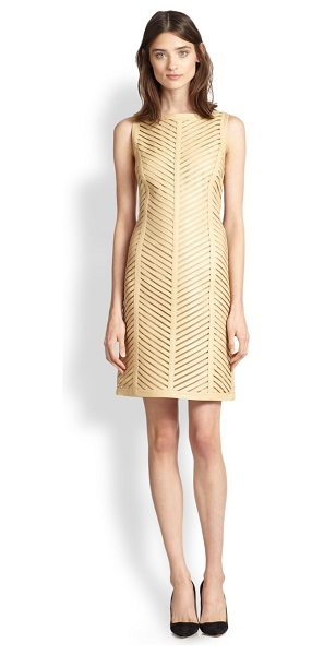 Ralph Lauren Black Label Severina chevron cut-out leather sheath in sand - Delicate cut-outs form the chevron pattern of this...