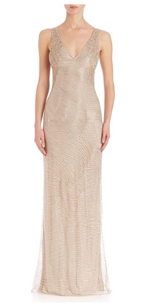 Ralph Lauren Collection beaded adeena evening dress in oatmeal - Gorgeous, luminous gown, with intricate beading.V-neck....