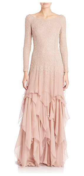 Ralph Lauren Collection beaded carmella evening gown in vintage rose - Ethereal layered silk gown, with glittery beading....