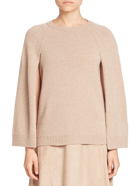 Ralph Lauren Collection Cashmere cape sweater in oatmealmelange - Cape-inspired silhouette knit in fine Italian cashmere....