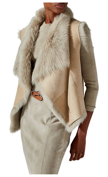 Ralph Lauren Collection Cassie Toscana Shearling Vest in taupe