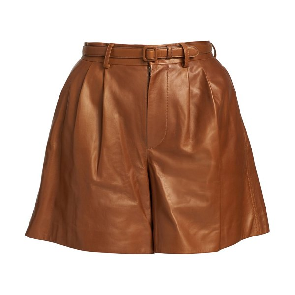 Ralph Lauren Collection glenn leather shorts in toffee