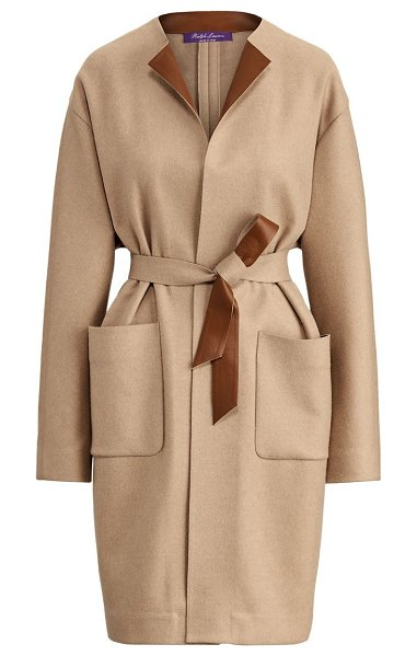 Ralph Lauren Collection katerina leather-trim wool-blend coat in fawn melange