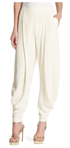 Ralph Lauren Collection kersten solid pants in vanilla - Fitted cuffs detail these timeless solid pants....