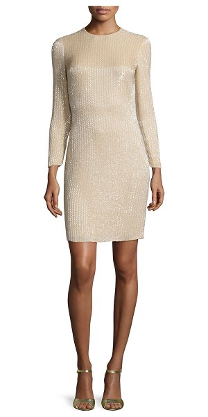 Ralph Lauren Collection Long-Sleeve Embellished Cocktail Dress in buff - Ralph Lauren cocktail dress with allover beading. Jewel...