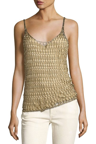 Ralph Lauren Collection Mesh Scoop-Neck Camisole in gold - Ralph Lauren Collection lined mesh-knit camisole. Scoop...