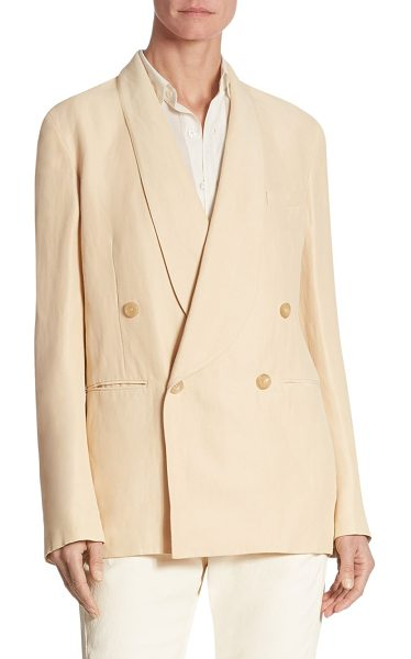 Ralph Lauren Collection nelson double-breasted jacket in desert - Double-breasted jacket cut from a linen blend. Shawl...