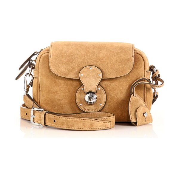 Ralph Lauren Collection Ricky small suede zip crossbody bag in camel - In a rustic-meets-refined style so signature to Ralph...