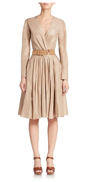 Ralph Lauren Collection Ruched taffeta dress in blonde - Crisp pleats add volume to this ladylike fit-and-flare...