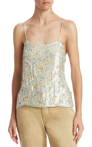 Ralph Lauren Collection sequin printed silk tank in chic cream - Glittering sequins embellish easy camisole. Scoop neck....