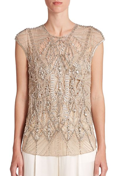 Ralph Lauren Collection Silk beaded-detail top in blonde - Intricate allover beading and dainty cutouts impart...