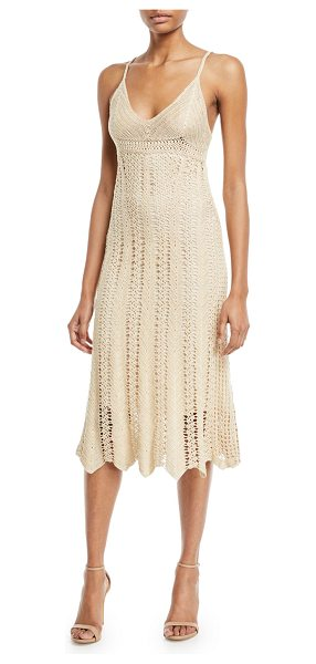 Ralph Lauren Collection Sleeveless V-Neck Crochet Camisole Midi Dress in beige - Ralph Lauren Collection crochet camisole dress. V...