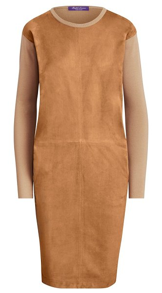 Ralph Lauren Collection suede front crewneck dress in camel