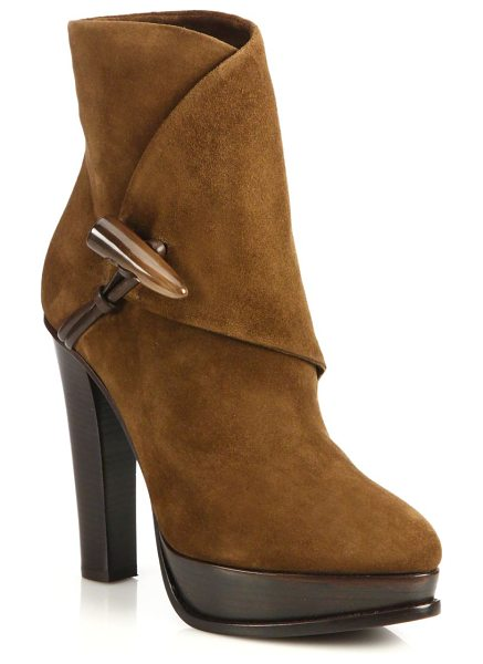 Ralph Lauren Collection Tesla suede horn-toggle booties in brown - Nomadic-chic suede booties with toggle closureStacked...