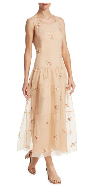 Ralph Lauren Collection trinity embroidered dress in apricot - Floral embroidery adorns tiered silhouette dress....