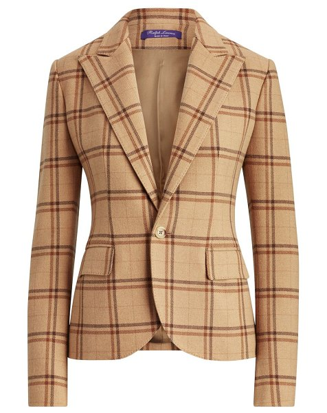 Ralph Lauren Collection winnifred windowpane check blazer in brown