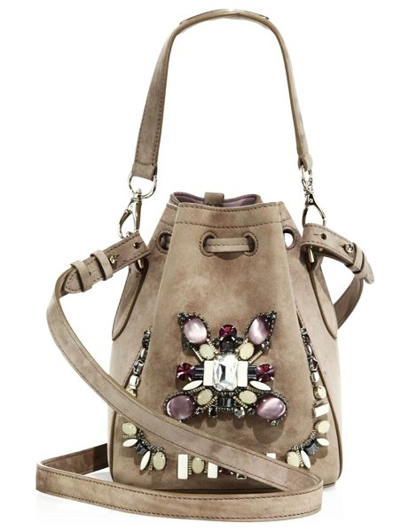 Ralph Lauren Embellished suede drawstring bag in taupe - Suede drawstring bag with beaded crystal embellishment....