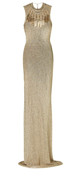 Ralph Lauren Open-Back Knit Gown in gold - This *Ralph Lauren* dress features a jewel neckline and...