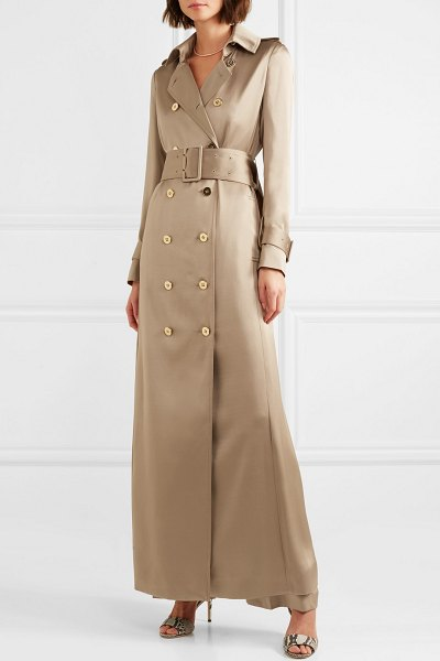 Ralph & Russo double-breasted silk-satin trench coat in sand - EXCLUSIVE AT NET-A-PORTER.COM. Ralph & Russo's coat...
