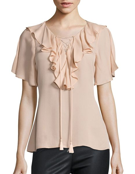 Ramy Brook addie lace-up flutter sleeve silk top in blush - Smooth feminine top with front ruffle overlay.V-neck...