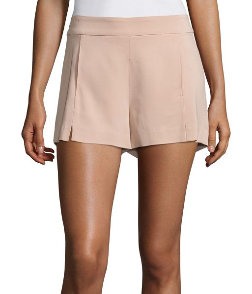 Ramy Brook adele stretch crepe shorts in blush - Ultra-smooth shorts designed with front slit detail....