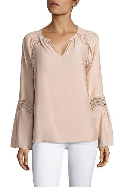 Ramy Brook astrid lace inset bell sleeves top in blush - Lace insets bring a modern twist to this elegant top....