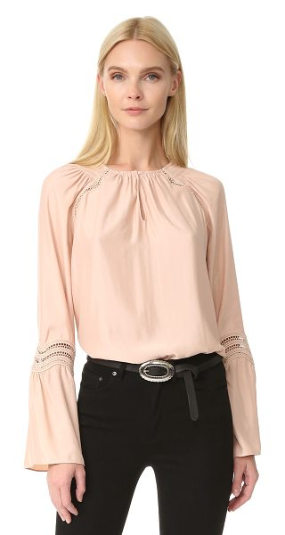 Ramy Brook astrid wave trim blouse in blush - Smocking accents the round neckline on this graceful...
