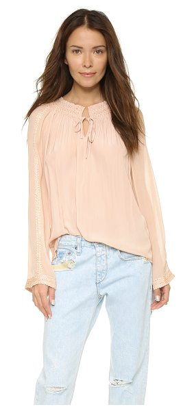 Ramy Brook Baya blouse in blush - A prairie style Ramy Brook blouse with crinkled silk...