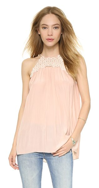 Ramy Brook Belinda blouse in blush/pearl - Glossy, coated lace adds a unique accent to this fluid...