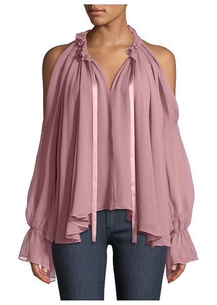 "Ramy Brook Blaine Cold-Shoulder Silk Ruffle Blouse in light pink - Ramy Brook ""Blaine"" top in pleated silk. V neckline;..."
