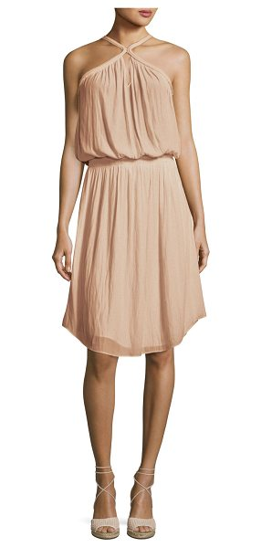 Ramy Brook Caroline Sleeveless Blouson Dress in blush - Ramy Brook dress. High, X-style neckline; keyhole front...