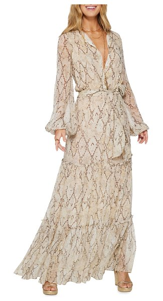 Ramy Brook Enya Printed Tiered Maxi Dress in sand combo