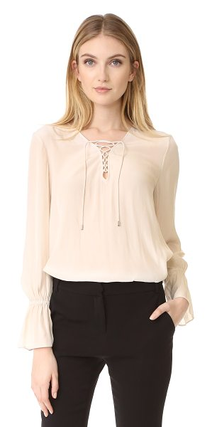 Ramy Brook erika blouse in bone - A slinky, vintage-inspired Ramy Brook blouse. Lace-up...