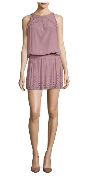 Ramy Brook hilary studded blouson dress in dusty rose - Sleeveless blouson dress flaunts studded accents....