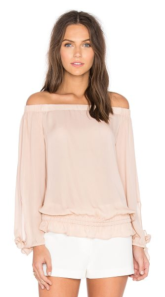 Ramy Brook Jenny Off the Shoulder Top in blush - Silk blend. Dry clean only. Elastic neckline and hem....