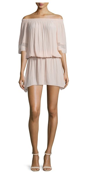 "Ramy Brook Jessa Plisse Off-the-Shoulder Dress in light pink - Ramy Brook ""Jessa"" dress in plisse knit...."