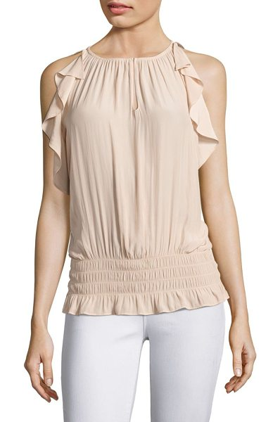 RAMY BROOK jordyn ruffle top in blush - On-trend gathered top featuring flouncy design....