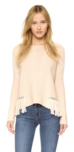 Ramy Brook Kelly embellished fringe sweater in blush - Chain link detailing and fringe add an edgy feel to this...