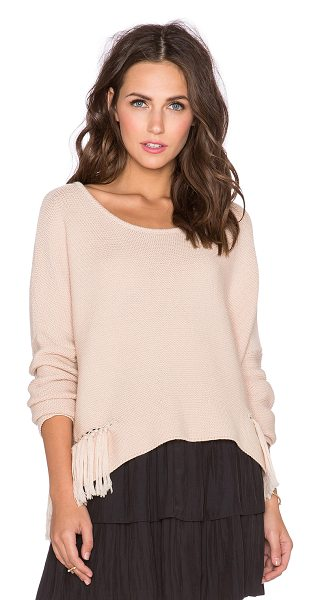 Ramy Brook Kelly embellished sweater in blush - Cotton blend. Fringe accent with chain link detail....