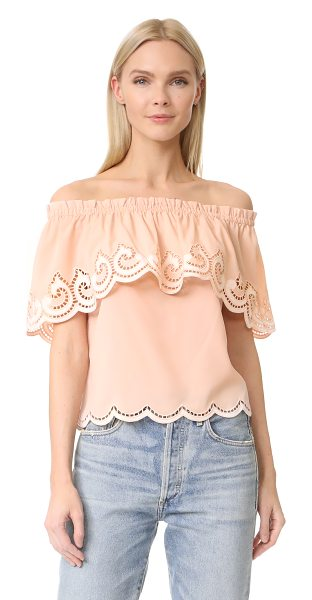 Ramy Brook kira embroidered off shoulder top in blush/white - Intricate cutouts and embroidered swirls bring elegant...