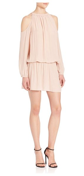 Ramy Brook lauren cold-shoulder dress in blush - Breezy drop-waist dress with cool shoulder-baring style....