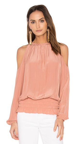 Ramy Brook Lauren Top in terracotta rose - 100% poly. Dry clean only. Elasticized neckline....
