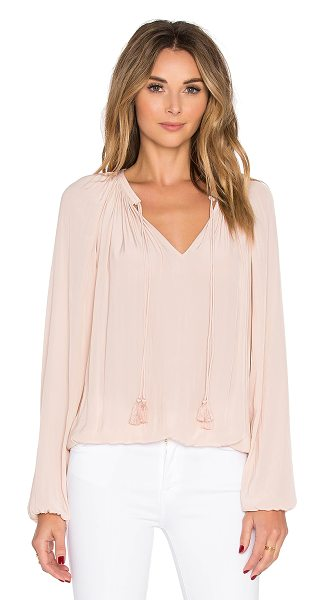 Ramy Brook London top in blush - 100% poly. Dry clean only. Tie closure at neckline....